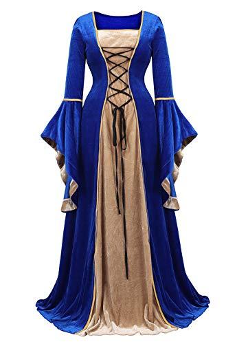 Zhitunemi Renaissance Dress Medieval Costume Women Halloween Costumes Midevil Faire Gothic Gown Blue-2XL