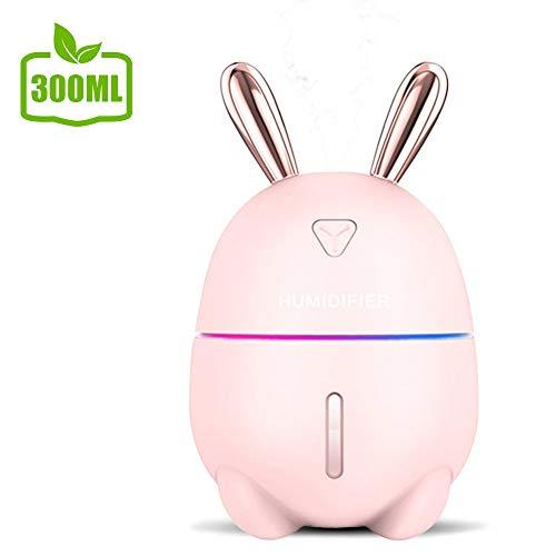 AIGUO Humidificateur, Humidificateur d'air, Humidificateur bébé, Humidificateur d'air maison, Mini purificateur d'air, 300ML 8-12 Heures Temps de Fonctionnement Brume Fraîche Super Silencieux. (Pink)