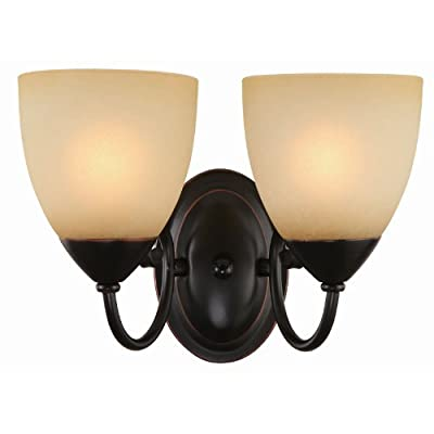 Hardware House Berkshire Series 2 Light Oil Rubbed Bronze 12-1/4 Inch by 8-1/4 Inch Bath / Wall Lighting Fixture : 16-8212