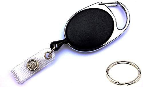 Waizmann.IDeaS® Ausweisjojo Jojo Zipper oval mit EXTRA reißfester POWERCORD Schnur Seil & Schlaufenclip Aufrollmechanismus & Ring 20mm Ø