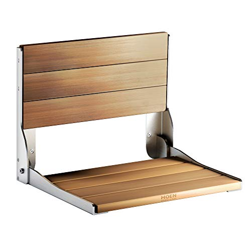Moen DN7110 Home Care Wall Mounted Teak Wood Aluminum Folding Shower Seat, Pack of 1, 038