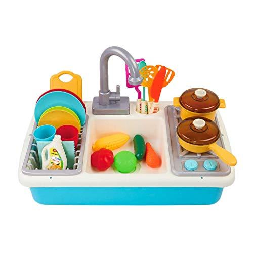Spülbecken Spielzeug, Simulation Küchenspüle Spielset Mit Fließendem Wasser Vortäuschen Sie Spielen Waschen Küche Spielzeug Geschirr Presse Wasserhahn and Abflussblue