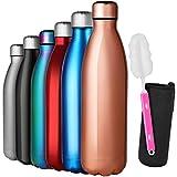 GeeRic Bottiglia Termica 1 Litro, Borraccia in Acciaio Inox+Spazzola+Borsa Portatile Bottiglia Acqua Sportiva Tenere 12H Caldo/24 Freddo Borraccia Termica 1000ML per Scuola,Sport,Palestra Rosa Oro