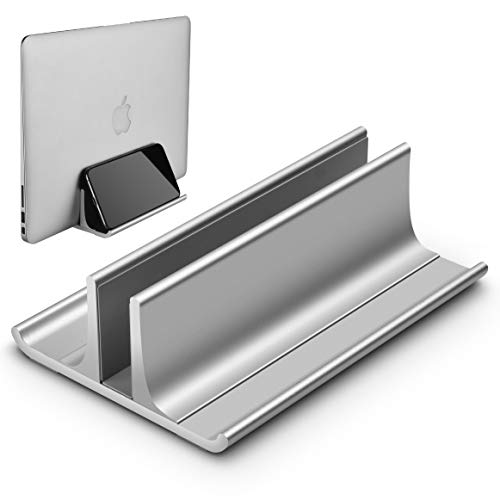 Honkid Vertikaler Laptop Ständer, Verstellbarer Vertikalen Laptopständer Platzsparender StänderTischständer, Aluminium Legierungs Standplatz Kompatibel iPad Pro/MacBook Air/Pro/Surface Pro,Silber