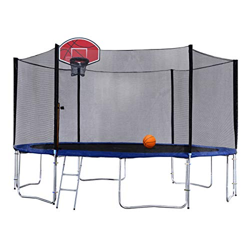 Exacme 15 Foot Outdoor Round Trampoline with Basketball Hoop and...