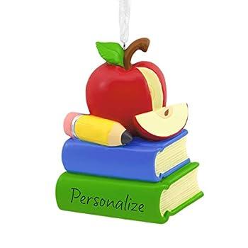 Hallmark Personalized Christmas Ornament School Teacher Apple With Books