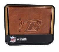 Baltimore Ravens NFL Embossed Brown Leather Billfold Wallet