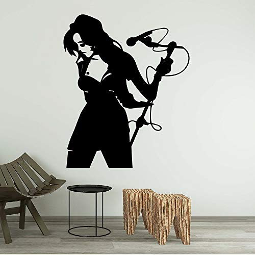 Schattig Zingende Vrouw Muurstickers Zelfklevende Kunst Behang Decoratieve Vinyl Muursticker XL 58cm X 70cm Zwart