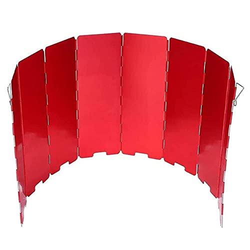 Camping estufa parabrisas aleación de aluminio 10 placas plegables al aire libre camping cocina ventana viento estufa de gas parabrisas para barbacoa picnic senderismo al aire libre cocinar rojo