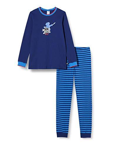 Schiesser Jungen Capt´n Sharky Kn Schlafanzug lang Pyjamaset, dunkelblau, 92