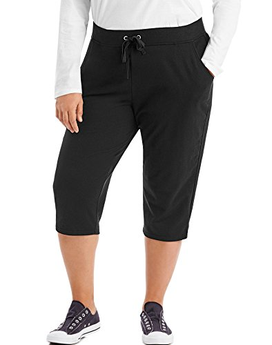 Just My Size Women's French Terry Capri, Black, 3X