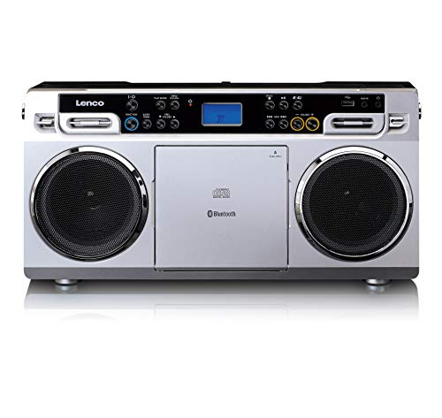 Lenco SCD-580 Ghettoblaster - Tragbarer CD-Player - PLL FM Radio - mit USB und Bluetooth - SD Karten Slot - mit Netzadapter - silber