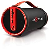 Axess SPBT1033 Portable Bluetooth Indoor/Outdoor 2.1 Hi-Fi Cylinder Loud Speaker with Built-In 4' Sub and FM Radio, SD Card, AUX Inputs in Red