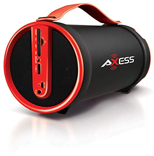 """Axess SPBT1033 Portable Bluetooth Indoor/Outdoor 2.1 Hi-Fi Cylinder Loud Speaker with Built-In 4"""" Sub and FM Radio, SD Card, AUX Inputs in Red"""