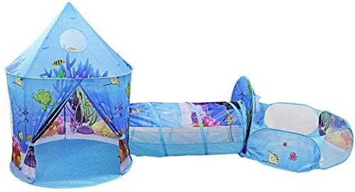 ZZXXB Kids Play Tent with Tunnel, 3 in 1 Pop Up castle Tent with Crawl Tunnel, Ball Pit Tent for Kids, Boys, Girls, Indoor/Outdoor Playhouse Judith