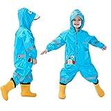 Baogaier Raincoat Kids Boys Girls Hooded Rains Coverall Puddle Suit Poncho Rainwear Jumpsuit Waterproof Rainsuit Jacket Toddler Boy Age 1-2 Years with PVC Transparent Hat Brim Owl Pattern Blue - S