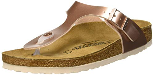 Birkenstock Damen Gizeh Birko-Flor Zehentrenner, Braun (Electric Metallic Copper Electric Metallic Copper), 38 EU Normale