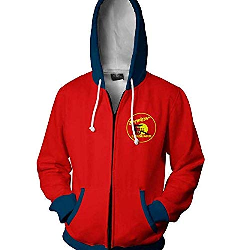 RJHWY 3D Hoodie Sweatshirt Unisex Pullover Kapuzenjacke Kleidung Mantel Reißverschluss Anime Top Baywatch XS