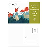 おしゃべりふくろうペットと動物の恋人を守る 詩のポストカードセットサンクスカード郵送側20個