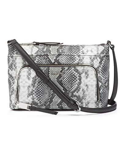 Calvin Klein Damen Lily Saffiano Leather Top Zip Crossbody Umhängetasche, Schwarz-Weiß-Python, Einheitsgröße
