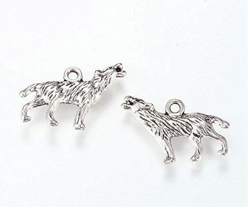 10 x Tibetisches Silber, 3D-Charm-Anhänger mit Motiv Heulender Wolf, Harry Potter, Charmperle