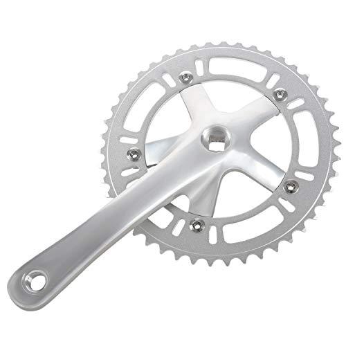 TOOGOO Bicicleta de Carretera CNC 46T Juego de Bielas Plateado 6061-T6 AleacióN de Aluminio Manivela de Plato Rueda de Cadena Fixie