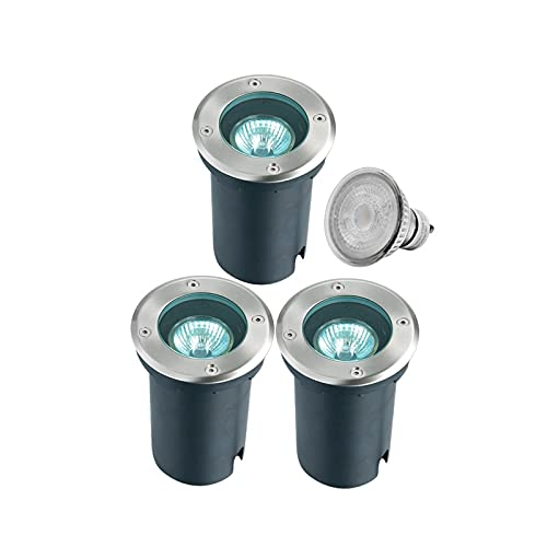 Foco Empotrable De Suelo, IP67, 111-240 V AC, GU10, Foco Empotrable Al Aire Libre, 3000 K, Inoxidable, Para Empotrar En El Suelo. (3 Piezas) [Clase De Eficiencia Energéti(Color:cálida luz subterránea)