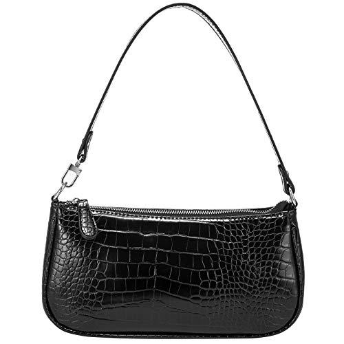 Shoulder Bags for Women, Retro Classic Tote HandBag Crocodile Pattern Clutch Mini Purse with Zipper Closure, Black
