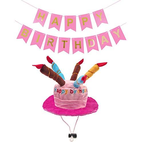 JZK Taart kaarsvormig roze fluweel verjaardag hoed pet speelgoed en roze HAPPY BIRTHDAY banner voor meisje honden kat, hond kat verjaardag partij decoraties accessoires