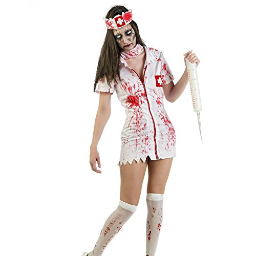 Costume d'horreur infirmière Zombie 3 pièces pour Dame Mini Robe Sexy Masque béret pour Halloween Carnaval fêtes à thème - S