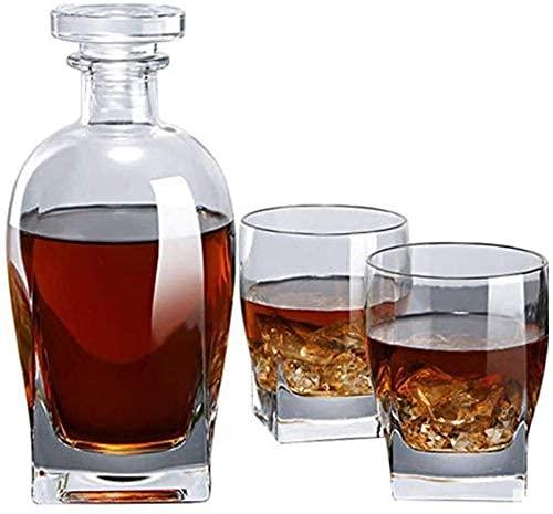 Hecho a mano / 3 Whiskey CARAFE, botella de 700 ml con 245 ml de vidrio de whisky, cristal decantante, caja hermosa de la cadeja, pequeña jarra de vino transparente, jarra de vidrio de alcohol, código