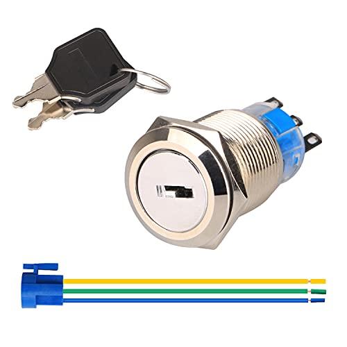 Gebildet 19mm Pre-cableado Interruptor de Llave NO/NC para Scooter Eléctrico Bicicleta Eléctrica...
