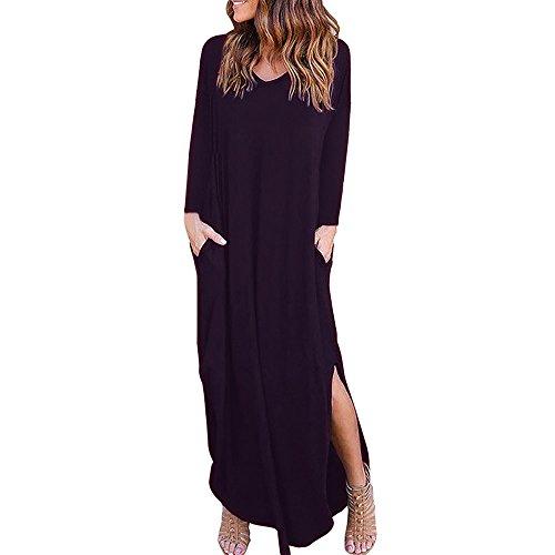SANFASHION Damen Kleider V Ausschnitt Sommerkleider Einfarbig Lang Sommerkleider mit Taschen Elegant Maxikleider mit Schlitz