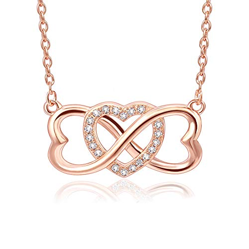 """JSJOY Infinity Necklace for Women 18K Rose Gold plated 925 sterling silver cubic-zirconia heart necklace for women, 16""""+2"""""""