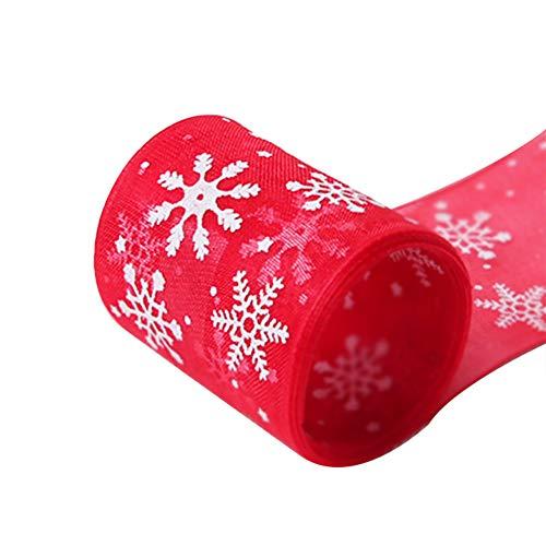 Ruikey Cintas Navidad Rojo Navidad Copo de Nieve Cinta Cintas navideñas arbol Cintas Decorado para DIY árbol de Navidad decoración del Partido de la Boda Regalo Fiesta