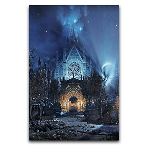 ZSBoBo Póster de castillo nocturno de Dark Souls para pared, decoración de baño, 30 x 45 cm