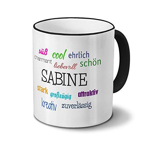 printplanet Tasse mit Namen Sabine - Positive Eigenschaften von Sabine - Namenstasse, Kaffeebecher, Mug, Becher, Kaffeetasse - Farbe Schwarz