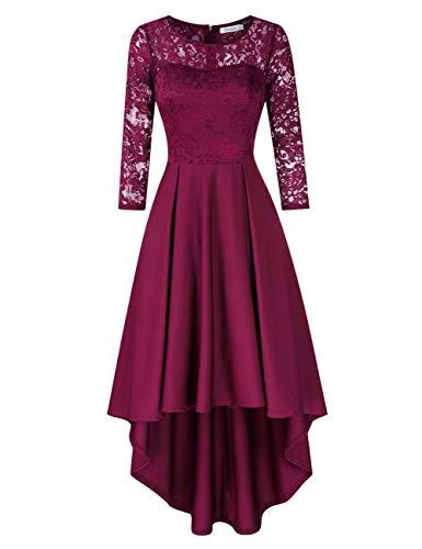 KOJOOIN Damen Abendkleider/Cocktailkleid/Brautjungfernkleider für Hochzeit Unregelmässiges Kurzespitzenkleidangarm Dunkelrot,S