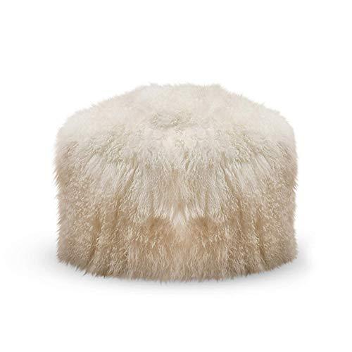 "SARO LIFESTYLE Real Mongolian 100% Wool Lamb Fur Pouf Ottoman, 18"" x 18"", Ivory"