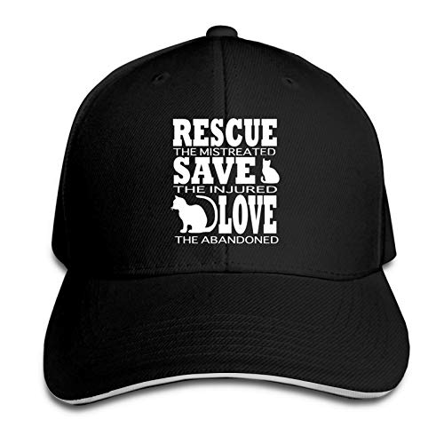 Animal Rescue The Maltratado Gorra de béisbol Hombres Mujeres Classic Sports Casual Sun Hat Negro