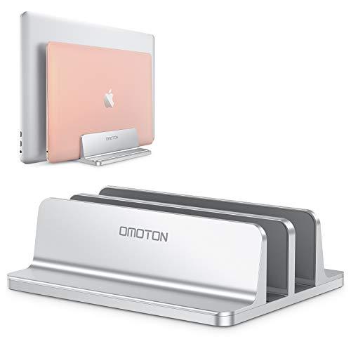 OMOTON Supporto Verticale per Laptop, Doppio Supporto Regolabile, Dock da Scrivania in Alluminio per MacBook Notebook Surface PRO e iPad, Due Scomparti,Argento