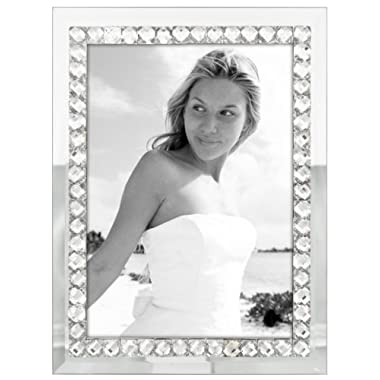 Malden International Designs Malden Brilliance Jewel Mirror Picture Frame, 5x7, Mirrored