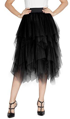 Urban GoCo Mujeres Enagua Falda Corta Midi Tul Damas Cintura Elástica Asimetricas Tutu Falda para Fiesta Danza (M, Negro)