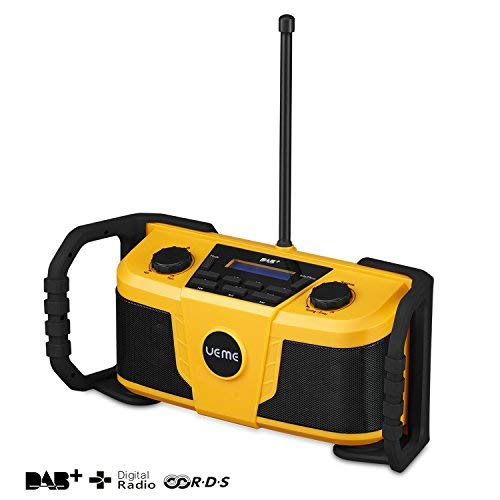 UEME Baustellenradio DAB+ DAB FM Radio, Digitalradio mit Bluetooth und Wecker und Dimmer, Robustes DAB Plus Radios DB-322 (Gelb-Schwarz)