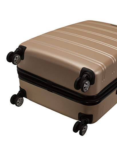 Rockland Melbourne Hardside Expandable Spinner Whe   el Luggage, Champagne, 3-Piece Set (20/24/28)