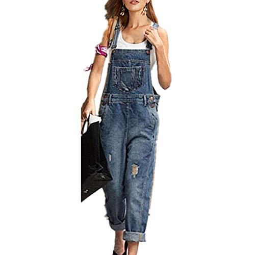 Odot Mujer Petos de Pantalones, Elásticos Casual Jean Moda Bolsillos Overoles Jumpsuit Tirantes Playa Fiesta Noche Oficina Pantalón Monos Vaqueros (XL,Azul)