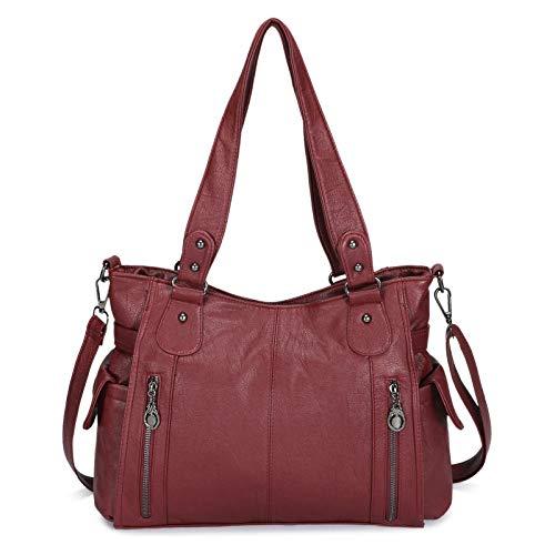 Damen Handtasche PU Leder Henkeltasche Große Schultertasche Top Griff Tasche Vintage Weiches Umhängetasche für Frauen Büro - Rot