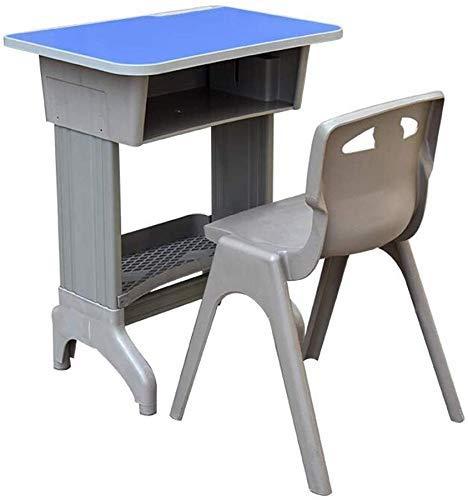 Lsmaa Mesas de Escritorio Juego de sillas Mobiliario Escolar, Altura Ajustable Aula Abierta Recepción Mesas de Estudio de Escritura for niños Sillas (Color: Azul, tamaño: 65x45x7280cm)