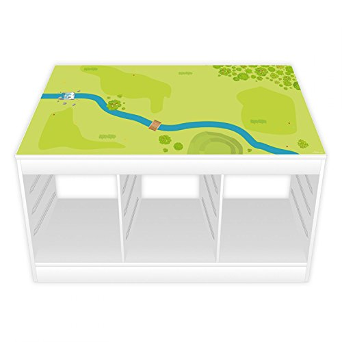 nikima Schönes für Kinder Spielfolie/Möbelfolie IKEA TROFAST Wald & Wiese Aufkleber Kinderzimmer Spieltisch (Möbel Nicht inklusive)