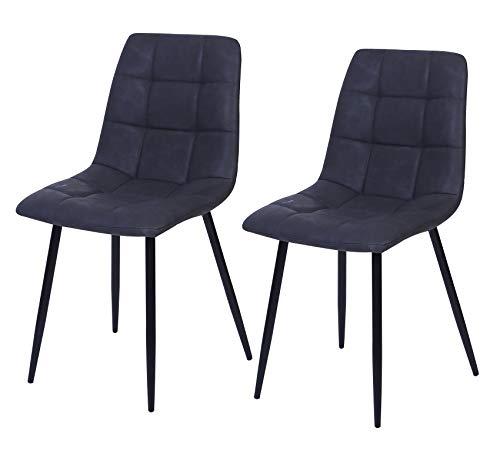 Vienna - Juego de 2 sillas de comedor (piel), color gris oscuro
